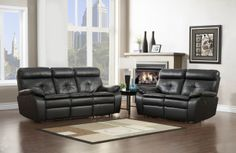 A.M.B. Furniture & Design :: Living room furniture :: Sofas and Sets :: Motion sofa sets :: 2 pc Wallace collection black bonded leather match upholstered double reclining sofa and love seat set