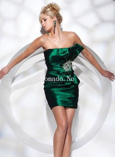 Sheath Short Length Dark Green Silky Satin Rhinestone and Bow Tie Inclusive Cocktail Gowns Green Cocktail Dress, Cheap Cocktail Dresses, Cocktail Gowns, Short Cocktail Dress, Green Dress, Dresses Short, Date Dresses, Club Dresses, Event Dresses