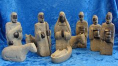 Amazing hand carved stone Nativity scene from Haiti. Our seven piece nativity set is carved by hand in Haiti from locally available river stone. Christmas Nativity, A Christmas Story, What Child Is This, Haitian Art, River Stones, Fair Trade, Hand Carved, Native American, Carving