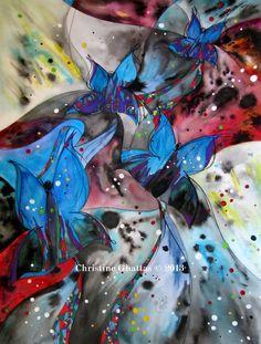 Blue Butterflies Note Card, Original Art Modern Painting, Handmade Card, 4 x 6 in. (10 x 15 cm.), Blank Inside. $5.00, via Etsy.