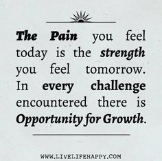 The pain you feel today.....