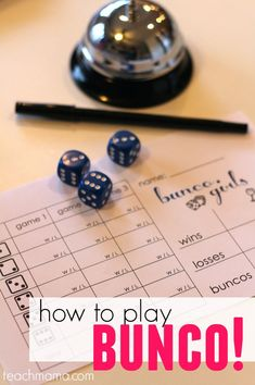 How to play bunco: super fun game for families with everything you need to know. Playing Bunco with friends and family is a great family activity and great summer indoor activity for a rainy day! If you don't know the rules to playing Bunco or what it's even about...this is for you! #teachmama #bunco #familygame #playingbunco #familyfun #summer #indoorgame #rainydayactivity #indoorfun #howtoplaybunco