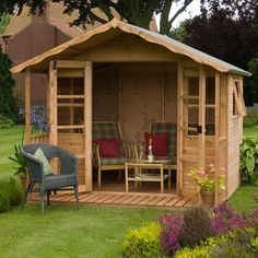 x Stratford Summer House With Veranda - What Shed Garden Buildings, Garden Structures, Outdoor Structures, Sorrento, Family Garden, Home And Garden, Dream Garden, Contemporary Garden Rooms, Apex Roof