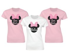 Disney inspired wedding hen party team bride t-shirts with glitter mickey mouse head. by iganiDesign on Etsy
