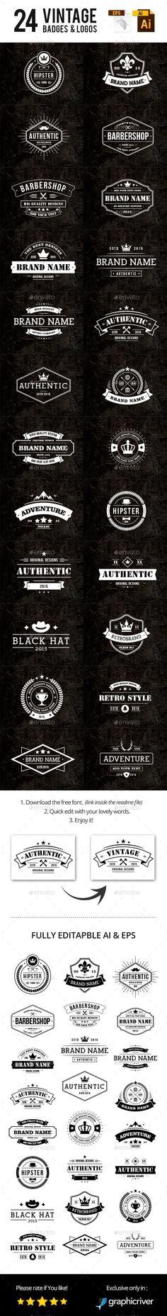 Typography - Typography - 24 Vintage Badges & Logos #design Download: graphicriver.net/...... Typography design & inspiration  Preview – Work    Description  24 Vintage Badges & Logos #design Download: graphicriver.net/…  – Source –