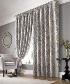 Grey Damask Curtains Hung In For The Window And Grey Walls : Stunning And Elegant Damask Curtains Dining Room Curtains, Curtains Living Room, Lounge Curtains, Damask Decor, Lined Curtains, Damask Curtains, Grey Walls, Grey Curtains, Curtains For Grey Walls