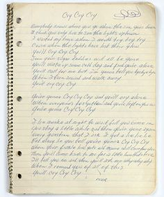 """Handwritten lyrics by Johnny Cash to the song """"Cry, Cry, Cry."""""""