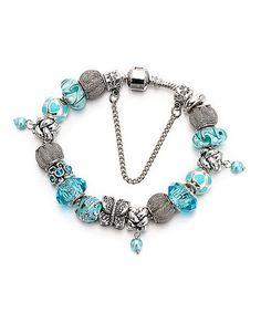 Mint & Silvertone Crystal Butterfly Charm Bracelet #zulily #zulilyfinds