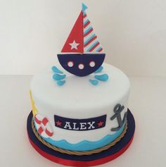 Nautical cake Nautical Birthday Cakes, Baby Boy Birthday Cake, Birthday Sheet Cakes, Nautical Cake, Cake Baby, Man Birthday, Nautical Theme, Titanic Cake, Sailboat Cake