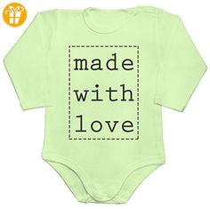Made With Love Label Baby Romper Long Sleeve Bodysuit Large - Baby bodys baby einteiler baby stampler (*Partner-Link)