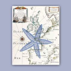 Nautical Starfish Print on antique map, Sea star, Marine Wall art Decor, Nautical art, Coastal Deco Clock Decor, Wall Art Decor, Wall Clocks, Coastal Style, Coastal Decor, Portugal, Decoupage, Nautical Home, Beach Art