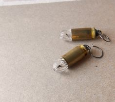 bullet earrings brass upcycled vintage lucite and bullet clear earrings