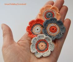 4 Crochet Flowers applique, Crochet Appliques, Crochet Flower, Crochet Embellishments set of 4 - READY TO SHIP Crochet Embellishments, Crochet Appliques, Flower Crochet, Flower Applique, Crochet Earrings, Ship, Crafts, Vintage, Jewelry