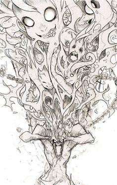 Save yourself. (C) endling Dark Art Illustrations, Illustration Art, Cool Art Drawings, Art Sketches, Dark Fantasy Art, Horror Art, Aesthetic Art, Doodle Art, Art Inspo