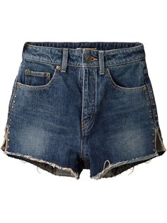 Saint Laurent Short En Denim À Clous - Stefania Mode - Farfetch.com