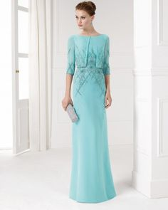 Beaded chiffon dress. Available in aquamarine, cobalt, lavender and pink.