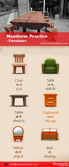Furniture in Chinese.For more info please contact: bodi.li@mandarinhouse.cn The best Mandarin School in China.