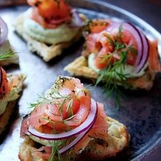 Starters with salmon and avocado