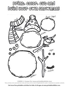 Kid friendly craft table for the kids to make something and give parents a free moment to visit.Printable Build a Snowman Activity : Printables for Kids – free word search puzzles, coloring pages, and other activities Winter Fun, Winter Theme, Winter Christmas, Winter Ideas, Holiday Crafts, Holiday Fun, Build A Snowman, Snowman Kit, Snowman Party