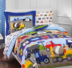 Construction Trucks, Police Cars, Tractors, Boys Twin Comforter Set (5 Piece Bedding) Kreative Kids http://www.amazon.com/dp/B005KNC4LK/ref=cm_sw_r_pi_dp_mk6cub1K1VZK2