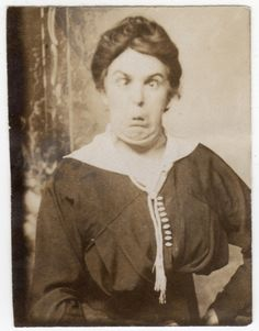 A RARE Vintage Photo - taken in an era when people posed for photos looking very serious and stoic, almost never smiling - so making a goofy face would be extremely rare!  She must have been a rather fun lady to hang out with if she was willing to be so silly for a posed photo during that time period.