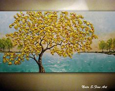 "Fall Tree Painting, Turquoise Lake Painting, Autumn Tree Art, Acrylic Painting, Seasons, Landscape, Colorful Large Artwork 24"" x 48"" by Nata"