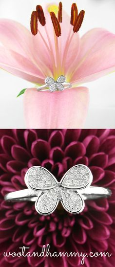 This elegant ring reminds us that butterflies are also one of nature's most exquisite creatures.  Crystals illuminate the flowing curves of the layered wings, creating an eye-catching jewel that delicate, yet stylish. Adorable butterfly ring in sterling silver and cubic zirconia