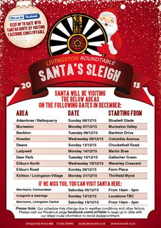 Santa Sleigh Dates 2015 Livingston Round Table are pleased to announce the locations which Santa will be visiting throughout December! http://www.vsgwl.org/?p=14077