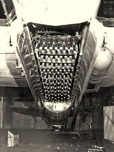 """Addendum —- The Fire Hedgehog, the craziest invention in military aviation history. Called the """"Fire Hedgehog"""", the weapons consisted of a banks of 88 submachine guns mounted on a rack within the bomb bay of a Tupolev bomber. Ww2 Aircraft, Military Aircraft, Ww2 Planes, Military Weapons, Ww2 Weapons, War Machine, Machine Guns, Jets, History"""