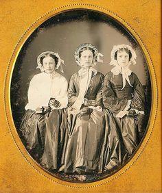 Three unidentified Victorian ladies c1860s