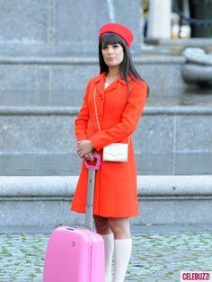 So cute! Lea Michele on 'Glee' set in orange.
