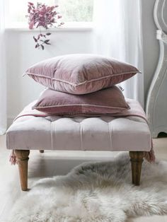 Indulgent, opulent, and soft, our dusty pink velvet cushion is perfect when layered with our matching natural linen cushions to make your bed or sofa wonderfully cosy. Cushions To Make, Gold Cushions, Velvet Cushions, Velvet Bed, Pink Velvet, Cotton Velvet, Scandinavian Bedding, Bedroom Color Schemes, Colour Schemes