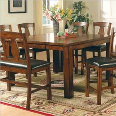 Steve Silver Lakewood Square Counter Height Dining Table in Rich Oak Finish by Steve Silver Company. $530.00