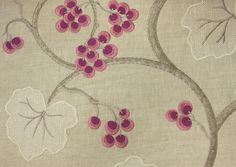 Shiraz Embroidered Linen Fabric A grape and vine leaf trail, in crewel work and embroidery, in white and greys with fuchsia, woven on a natu...