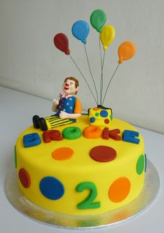 Mr Tumble cake for Brooke - Vanilla sponge with raspberry jam and vanilla buttercream filling Decorated with fondant icing and gumpaste Cool Birthday Cakes, Birthday Cake Girls, 2nd Birthday, Birthday Ideas, Special Birthday, Cbeebies Cake, Cake Picks, Different Cakes, Cake Pictures