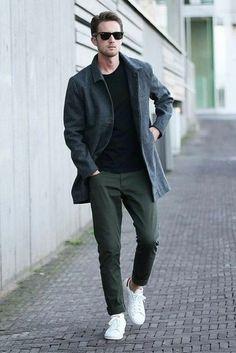 8c3974b6bf Look de moda  Abrigo largo en gris oscuro