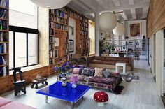 Amazing Manhattan Loft belonging to fashion photographers Inez Van Lamsweerde and Vinoodh Matadin. Modern boho. Fantastic space and scale.