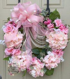 Hydrangea Wreath, Spring Wreath, Pink Flower Wreath, Grapevine Wreath - Wedding Wreath, Victorian Wreath by HoustonCustomWreaths on Etsy Silk Flower Wreaths, Pink Wreath, Hydrangea Wreath, Silk Flowers, Pink Hydrangea, Tulle Wreath, Floral Wreaths, Shabby Chic Kranz, Shabby Chic Wreath