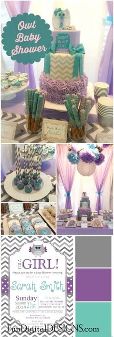 Purple teal owl Baby shower party ideas