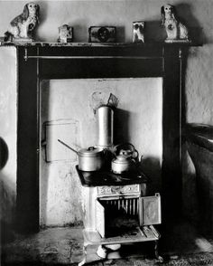 Paul Strand | Black and white photograph | Interior room mantelpiece dogs pair