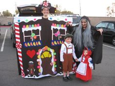 Our favorite family costume yet. Hansel, Gretel, the witch and the gingerbread house. Hubby was a good sport.