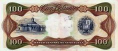 Pieza bbcv100bs-dc01-z8 (Reverso). Billete del Banco Central de Venezuela. 100 Bolívares. Diseño D, Tipo C. Fecha Febrero 03 1987. Serie Z8