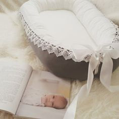 Choose Dark-grey or Light- grey for the outer fabric/ Lace / Satin ribbon BowBabynest - baby nest / Grey & White