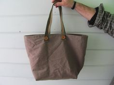 Noa's shopping BAG100 Cottongreen brown by AnnaLela on Etsy, $60.00