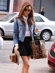 classic | denim jacket, sunglasses, Oxford shirt, black pencil skirt or skater skirt, wool hat