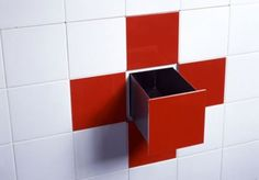 hidden drawer in bathroom tile ;)