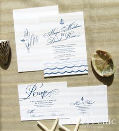 Marina Nautical Wedding Invitation Suite - Navy Scallop Design and Waves Invitation by Pretty Chic SF
