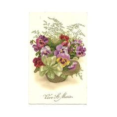 French Antique lllustrated Postcard, Best Wishes Card, Basket of Pansy Flower Illustration, Bouquet Chromo, Best Wishes Greeting Deltiology