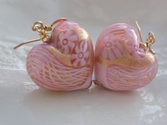 Pink Murano Glass Heart  Earrings by muranobridal on Etsy, $40.00