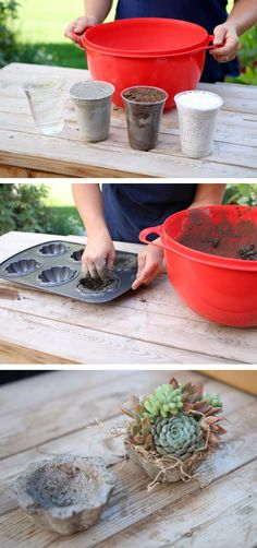 Make your own Hypertufa containers for spring plants, it's fun and easy. Then personalize with paint and other decor. Concrete Garden, Concrete Planters, Diy Planters, Concrete Leaves, Indoor Planters, Concrete Crafts, Concrete Projects, Garden Crafts, Garden Projects